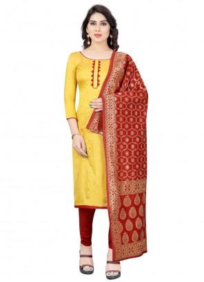 Fancy Yellow Tafeta Silk Churidar Designer Suit