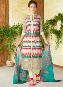 Fantastic Cotton   Print Work Churidar Designer Suit