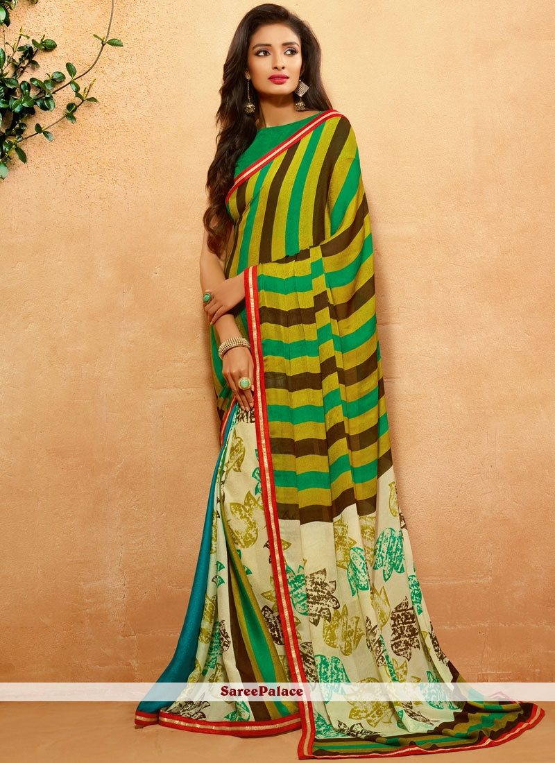 Fantastic Crepe Jacquard Multi Colour Print Work Printed Saree