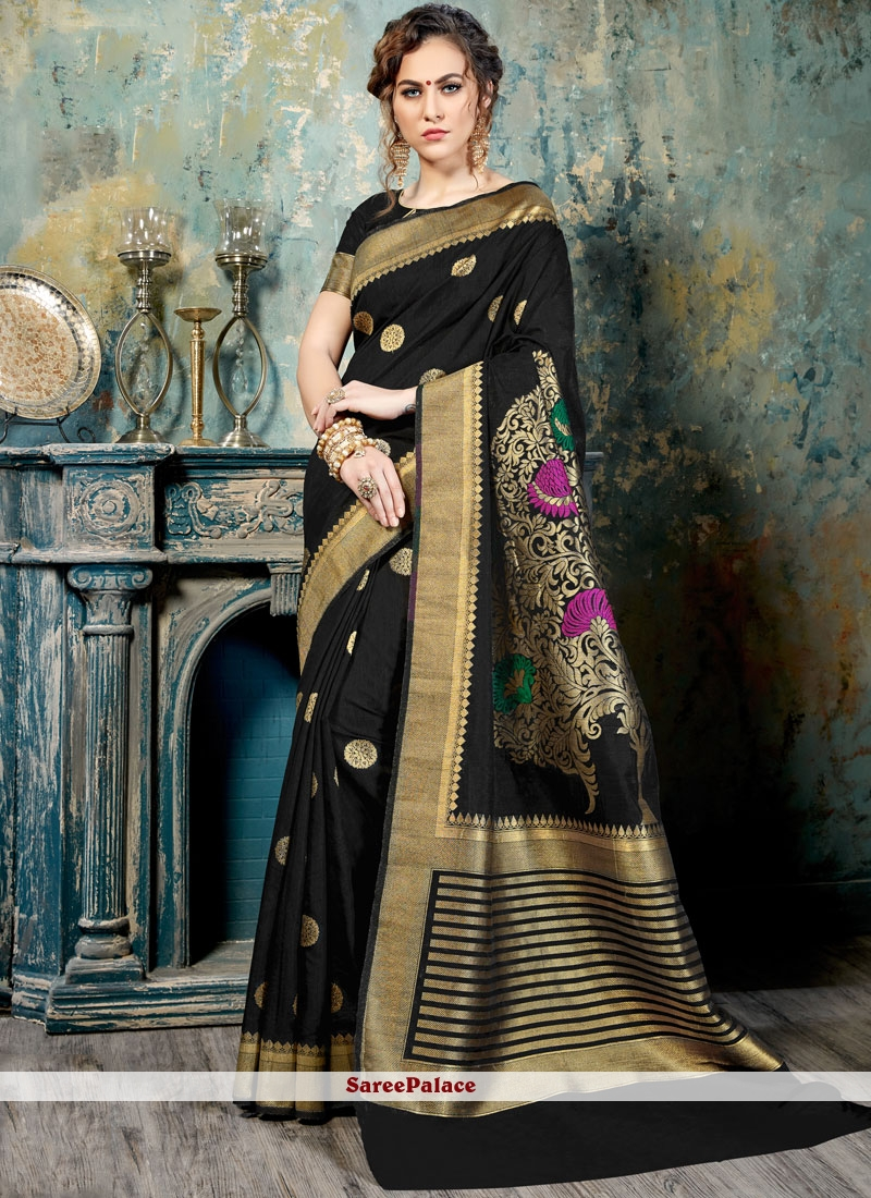 Fascinating Abstract Print Work Black Traditional  Saree