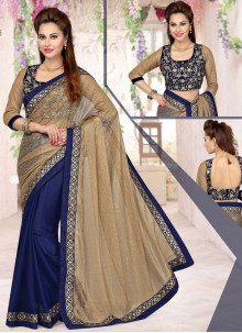 Fascinating Faux Chiffon Half N Half Designer Saree