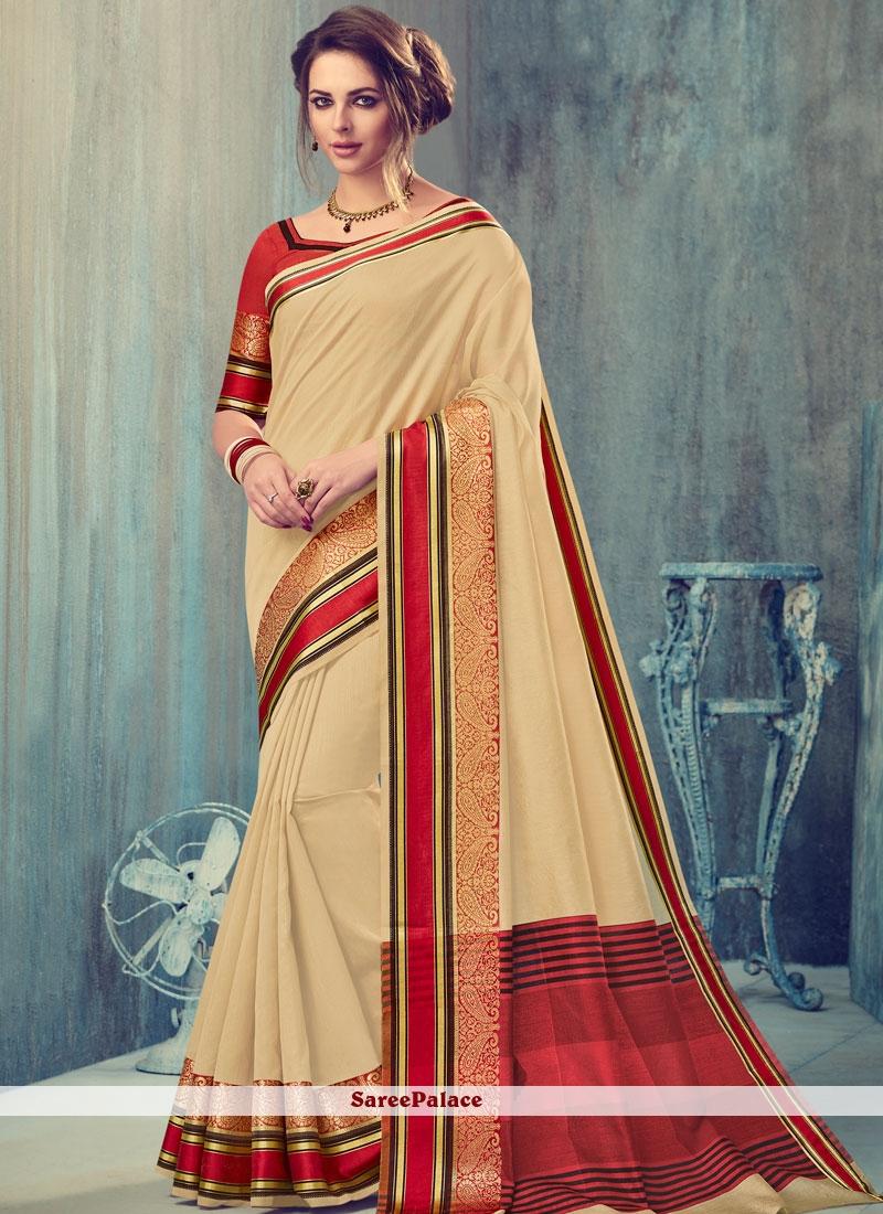 Fashionable Art Silk Beige Designer Traditional Saree