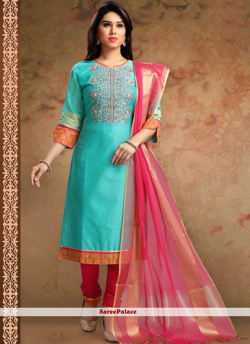 Buy Fashionable Blue Churidar Designer Suit Online
