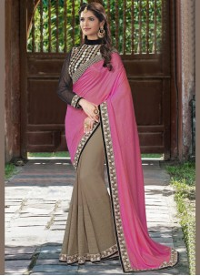 Fashionable Brown and Pink Patch Border Work Art Silk Half N Half  Saree