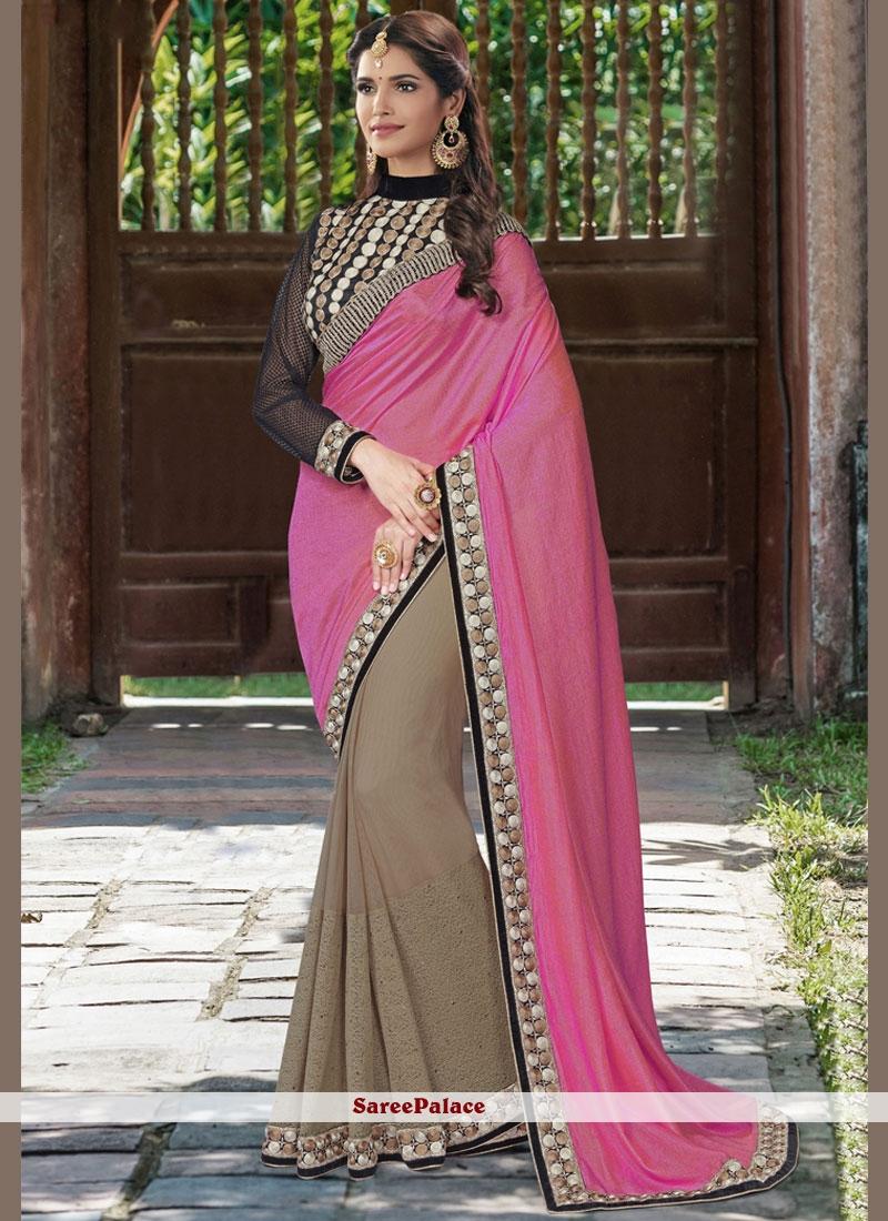 Fashionable Brown and Pink Patch Border Work Art Silk Half N Half  Saree