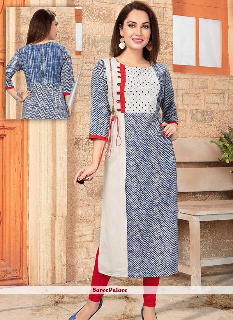 6234890372 Buy Fashionable Cotton Print Work Party Wear Kurti Online