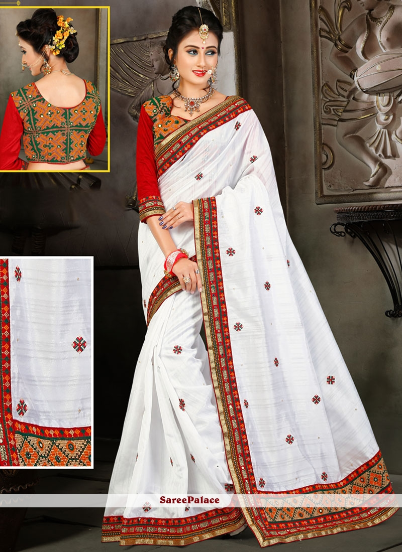Fashionable Embroidered Work Bhagalpuri Silk Designer Traditional Saree