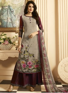 Fashionable Faux Crepe Multi Colour Print Work Designer Palazzo Suit