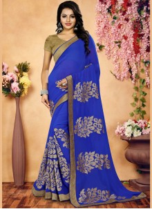 Fashionable Faux Georgette Blue Patch Border Work Classic Saree