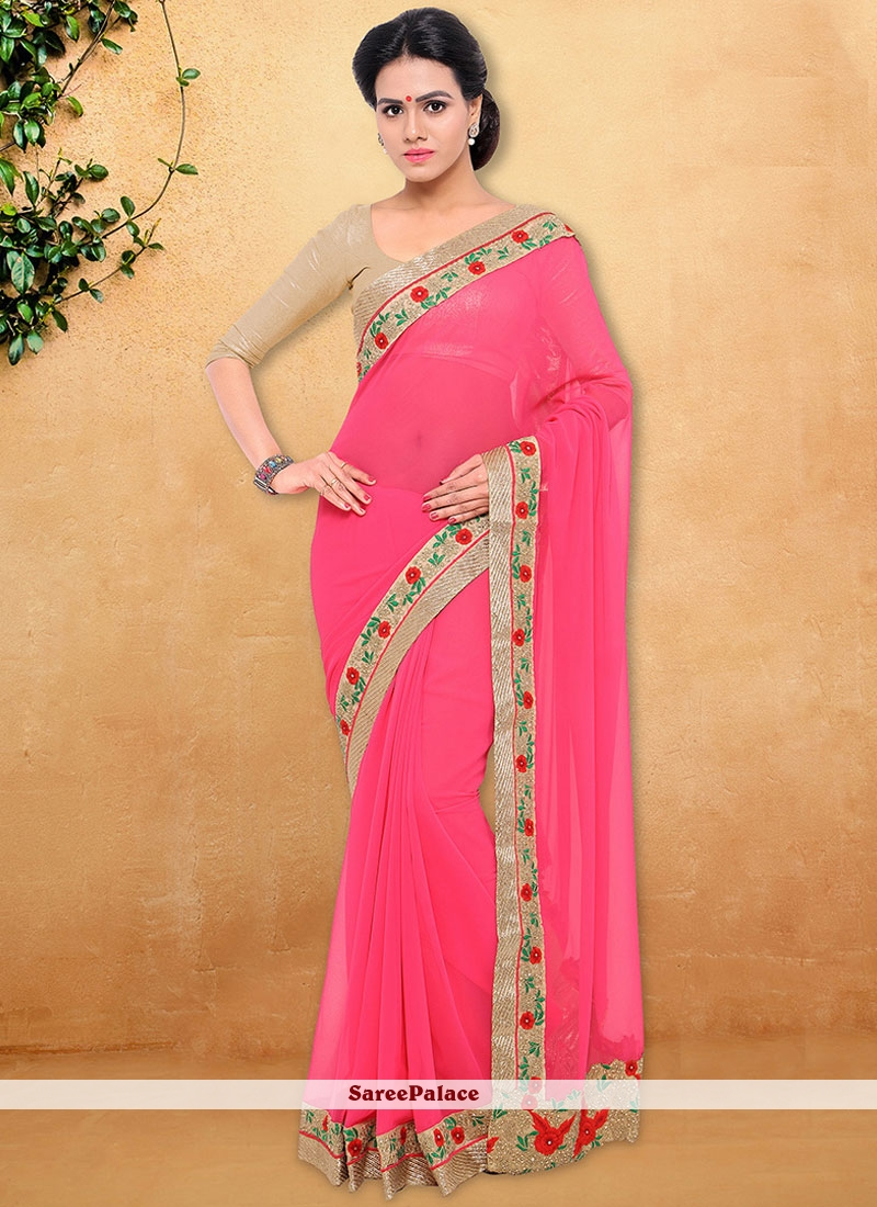 Fashionable Faux Georgette Pink Designer Saree