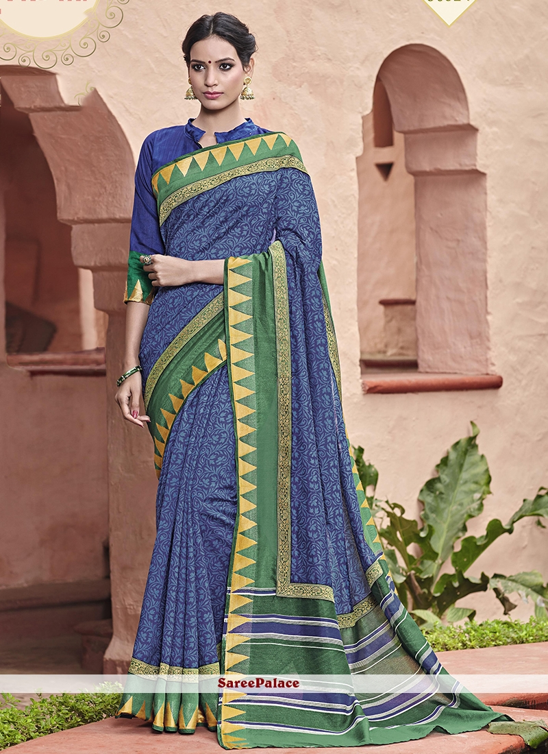 Fashionable Handloom silk Blue Printed Saree