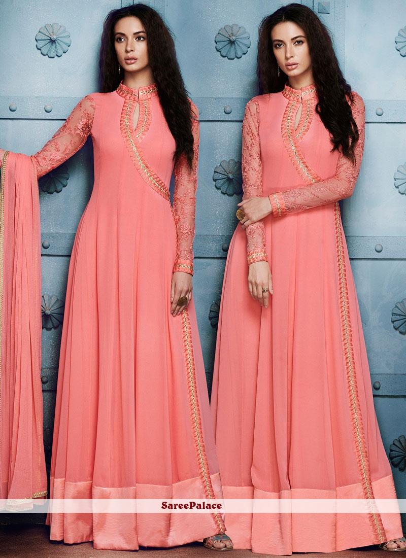 Fashionable Pink Embroidered Work Anarkali Salwar Kameez