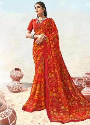 Faux Chiffon Abstract Print Casual Saree in Multi Colour