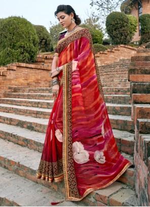 Faux Chiffon Abstract Print Multi Colour Bollywood Saree
