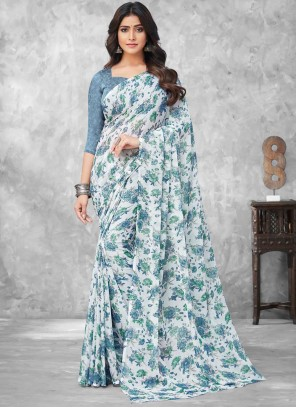 Faux Chiffon Abstract Print Traditional Saree in Multi Colour