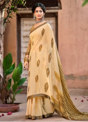 Faux Chiffon Beige Abstract Printed Saree