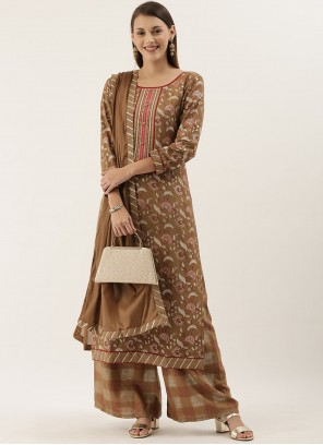 Faux Chiffon Beige Embroidered Designer Pakistani Suit