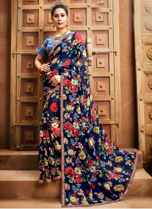 Faux Chiffon Blue Bollywood Saree