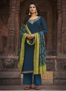 Faux Chiffon Blue Designer Palazzo Salwar Kameez