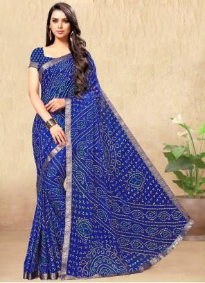 Faux Chiffon Blue Print Casual Saree