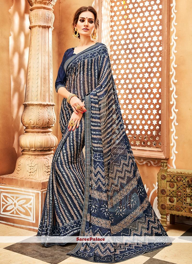 Faux Chiffon Blue Printed Casual Saree