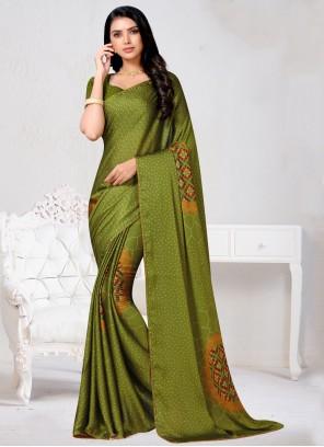 Faux Chiffon Bollywood Saree in Green