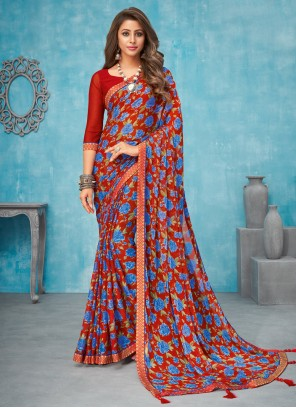 Faux Chiffon Border Contemporary Saree in Multi Colour