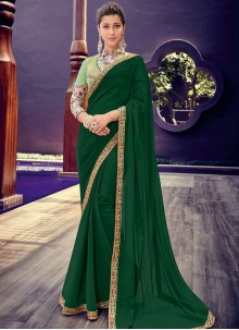 Faux Chiffon Border Trendy Saree