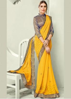 Faux Chiffon Border Yellow Trendy Saree