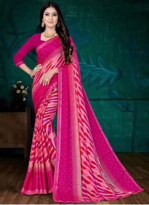 Pink Faux Chiffon Casual Printed Saree