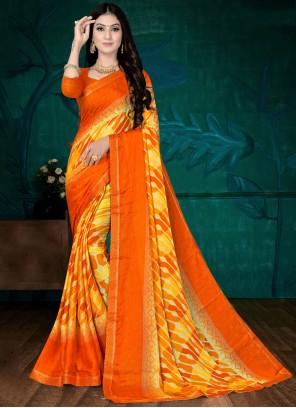 Orange Faux Chiffon Casual Printed Saree