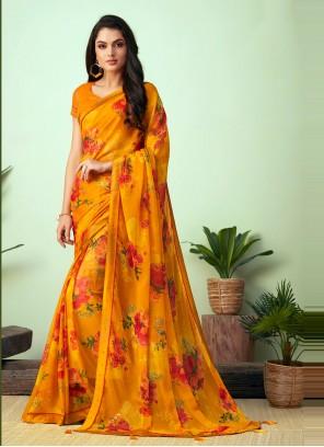 Faux Chiffon Casual Saree in Multi Colour