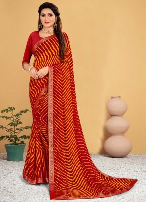 Orange And Red Faux Chiffon Casual Shaded Saree