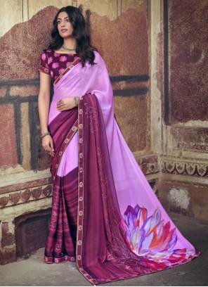 Multi Colour Faux Chiffon Ceremonial Printed Saree