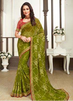 Faux Chiffon Classic Designer Saree in Green