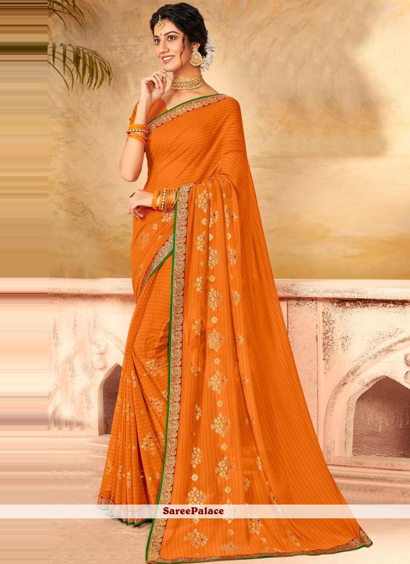 Faux Chiffon Classic Designer Saree in Orange