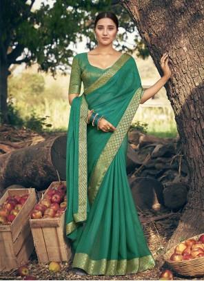 Faux Chiffon Classic Designer Saree in Sea Green