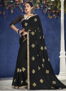 Faux Chiffon Classic Saree in Black