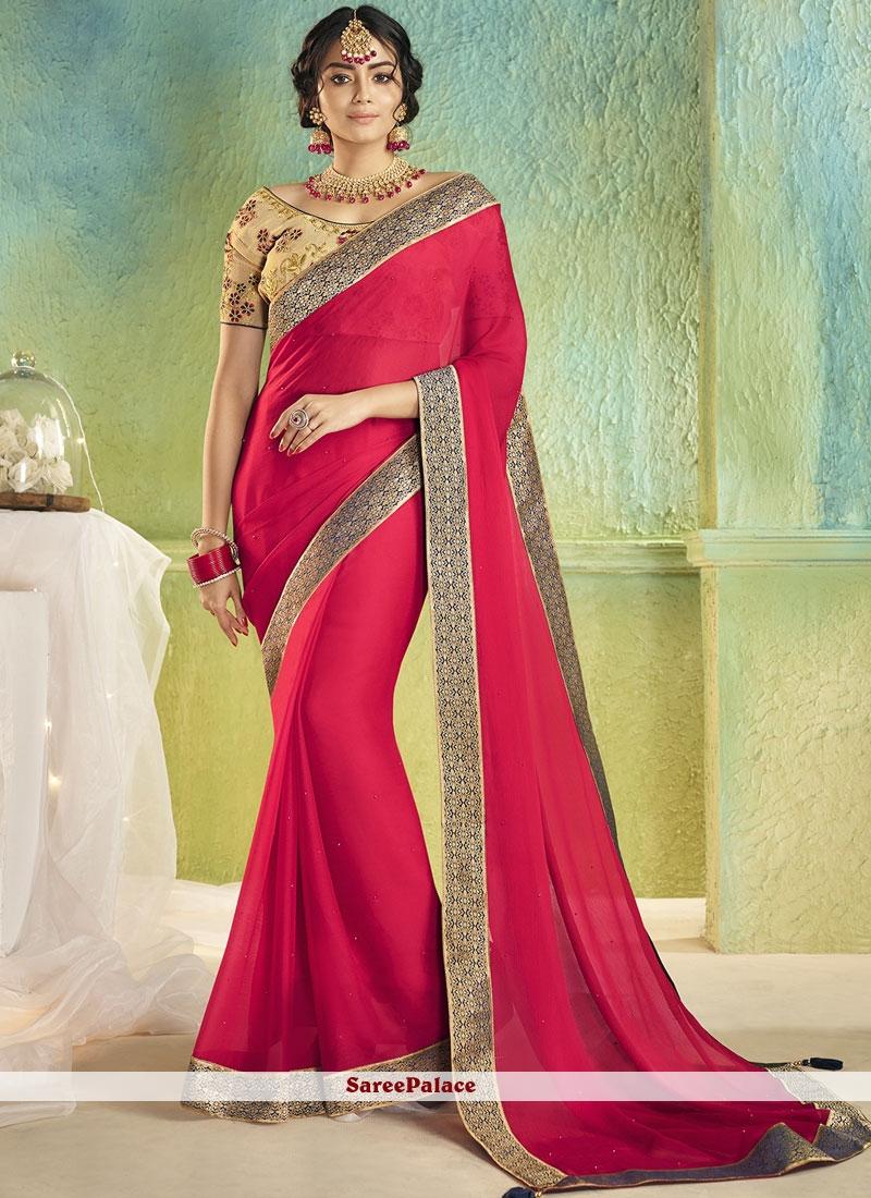 Faux Chiffon Classic Saree in Rose Pink