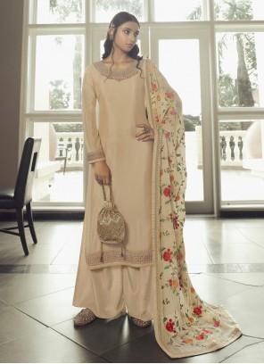 Faux Chiffon Cream Designer Pakistani Salwar Suit