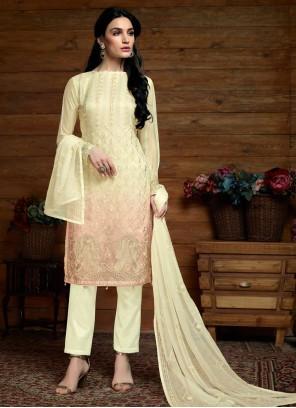 Faux Chiffon Cream Designer Salwar Kameez