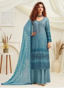 Faux Chiffon Blue Designer Palazzo Suit