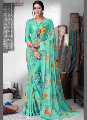 Faux Sea Green Chiffon Designer Saree