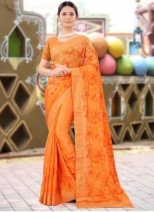 Faux Chiffon Designer Saree in Orange