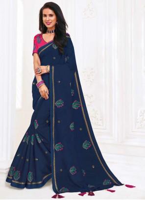 Faux Chiffon Embroidered Blue Classic Designer Saree