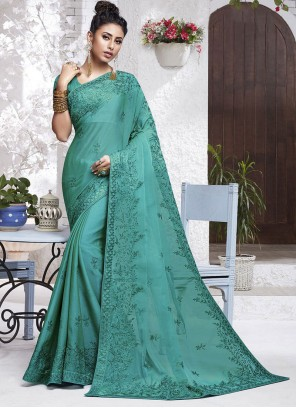 Turquoise Faux Chiffon Embroidered Classic Saree