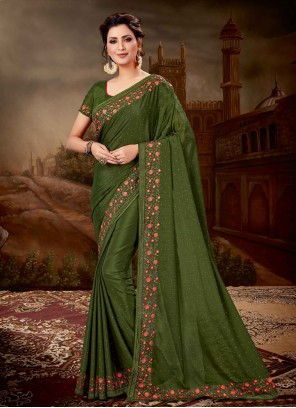 Faux Chiffon Embroidered Green Classic Saree