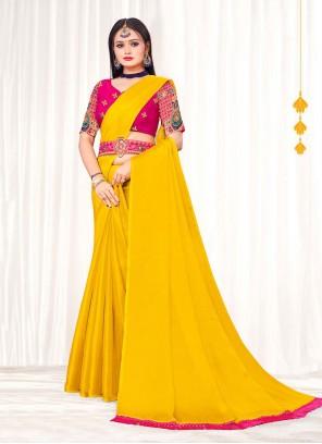 Yellow Faux Chiffon Embroidered Classic Saree