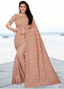 Faux Chiffon Beige Embroidered Classic Saree