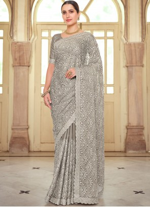 Faux Chiffon Embroidered Classic Saree in Grey